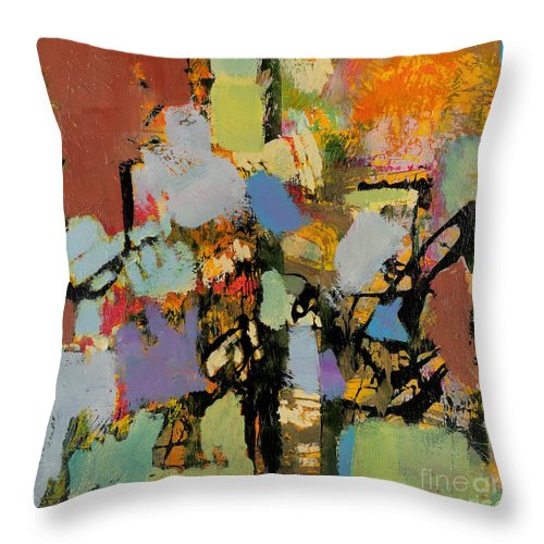 Landscape Throw Pillow featuring the painting Quick Racing by Allan P Friedlander