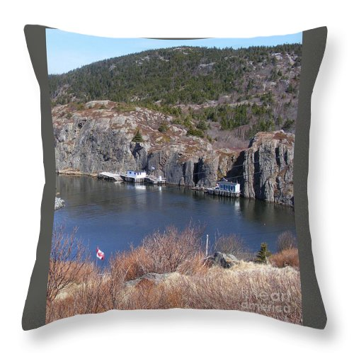 Fishing Village Throw Pillow featuring the photograph Quidi Vidi Fishing Stages by Barbara Griffin