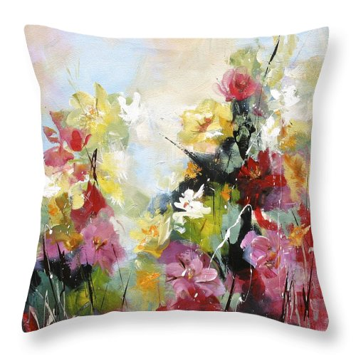 Floral Throw Pillow featuring the painting Quiet Country by Karen Hale