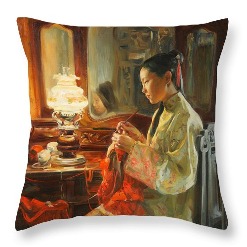 China Throw Pillow featuring the painting Quiet evening by Victoria Kharchenko