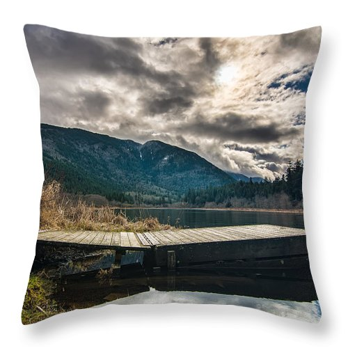 Beautiful Throw Pillow featuring the photograph Quiet Lake Dock by James Wheeler