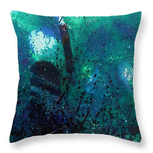 Landscape Throw Pillow featuring the painting Quiet by Min Zou