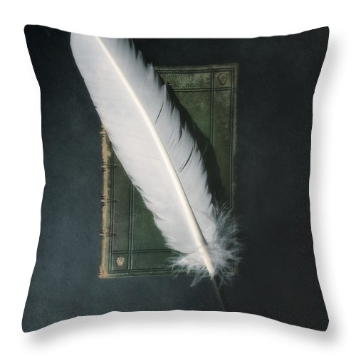 Book Throw Pillow featuring the photograph Quill And Book by Joana Kruse