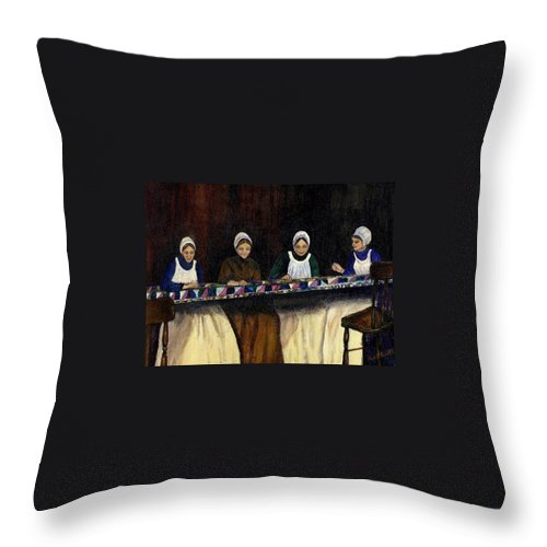 Women Throw Pillow featuring the painting Quilting by Gail Kirtz