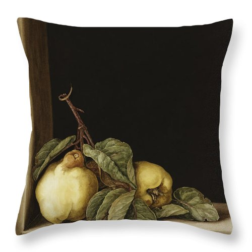 Still Life Throw Pillow featuring the painting Quinces by Jenny Barron
