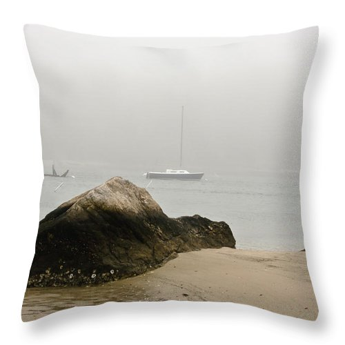 Knob Throw Pillow featuring the photograph Quissett Fog 3 by Dennis Coates