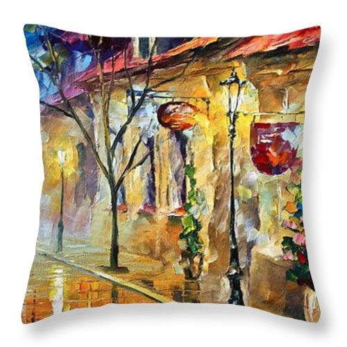 Afremov Throw Pillow featuring the painting Quite Morning by Leonid Afremov