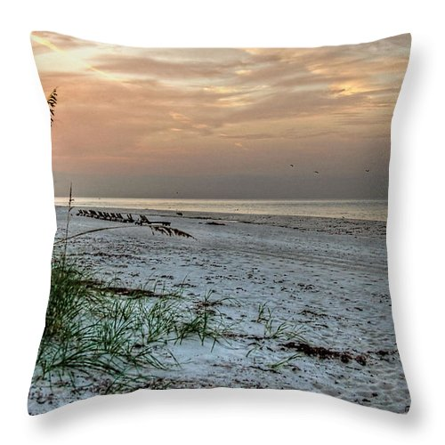 Palm Throw Pillow featuring the digital art Quite Time On The Beach by Michael Thomas