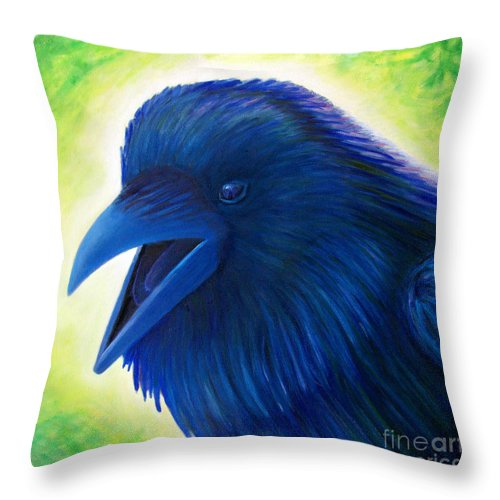 Raven Throw Pillow featuring the painting Raaawk by Brian Commerford