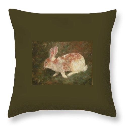 Rabbit Throw Pillow featuring the painting Rabbit by Birgit Schnapp