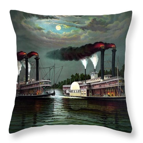 Throw Pillow featuring the painting Race Of The Steamers Robert E Lee And Natchez by War Is Hell Store