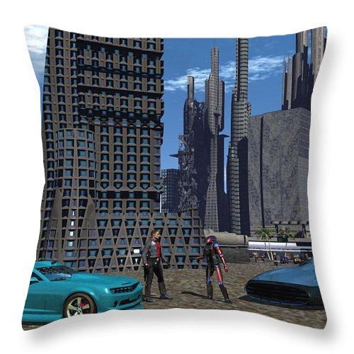 Digital Art Throw Pillow featuring the digital art Racing For Titles by Michael Wimer