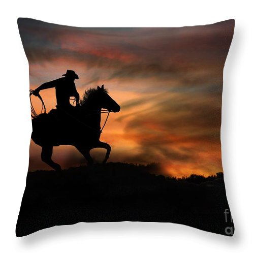 Cowboy Throw Pillow featuring the photograph Racing The Sun by Stephanie Laird