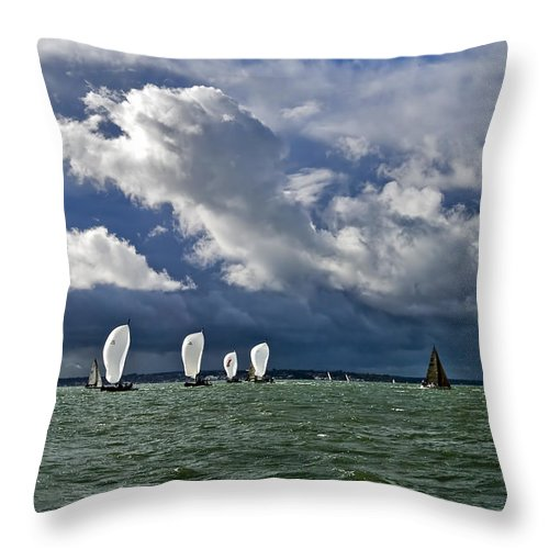 Sail Throw Pillow featuring the photograph Racing Yachts In The Solent by Gary Eason