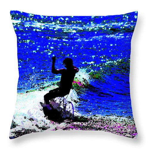 Skimboard Throw Pillow featuring the photograph Rad Skimboarder by DigiArt Diaries by Vicky B Fuller