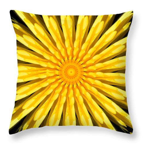 Yellow Throw Pillow featuring the digital art Radial Love by Bobbie Barth