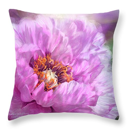Peony Throw Pillow featuring the mixed media Radiant Orchid Peony by Carol Cavalaris