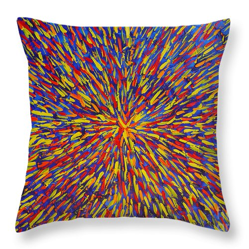 Abstract Throw Pillow featuring the painting Radiation Blue by Dean Triolo