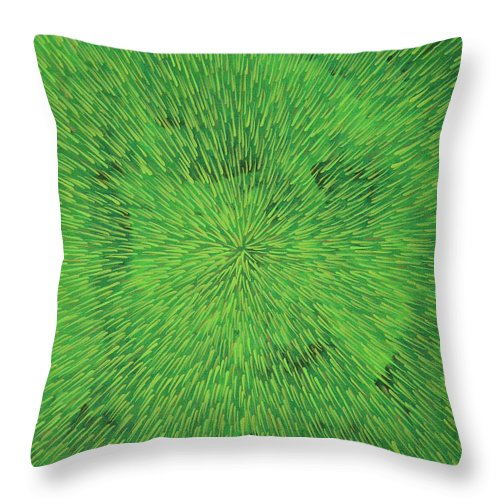 Abstract Throw Pillow featuring the painting Radiation Green by Dean Triolo