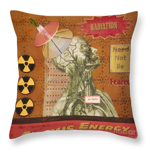 Assemblage Throw Pillow featuring the mixed media Radiation Need Not Be Feared by Desiree Paquette