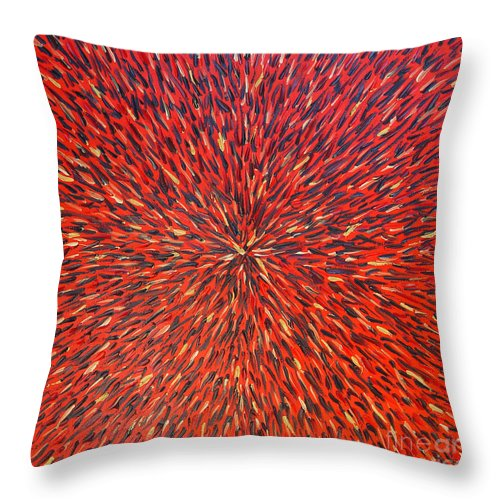 Abstract Throw Pillow featuring the painting Radiation Red by Dean Triolo