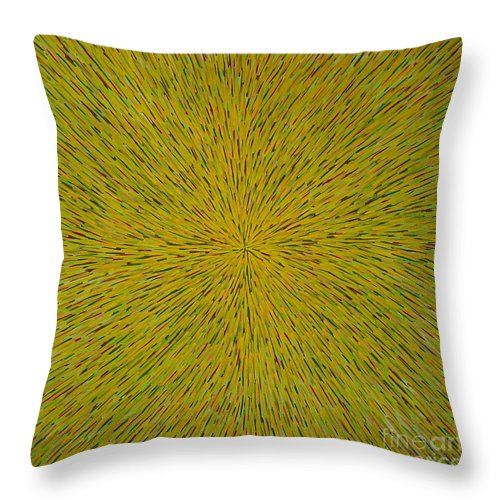 Abstract Throw Pillow featuring the painting Radiation With Yellow Green And Red by Dean Triolo