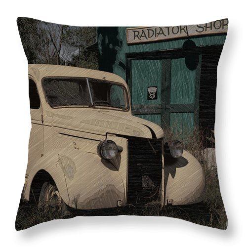 Radiator Shop Throw Pillow featuring the photograph Radiator Shop by Liane Wright