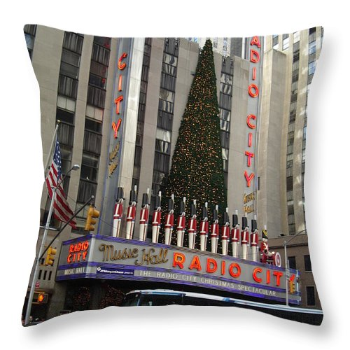 Holidays Throw Pillow featuring the photograph Radio City Music Hall 2003 by John Schneider