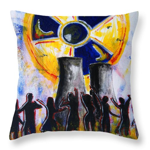Radioactive Throw Pillow featuring the painting Radioactive - New Generation by Michael Rados