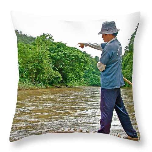 Rafting Guide On The Mae Taeng River Near Chiang Mai Throw Pillow featuring the photograph Rafting Guide On Mae Thang River Near Chiang Mai-thailand by Ruth Hager
