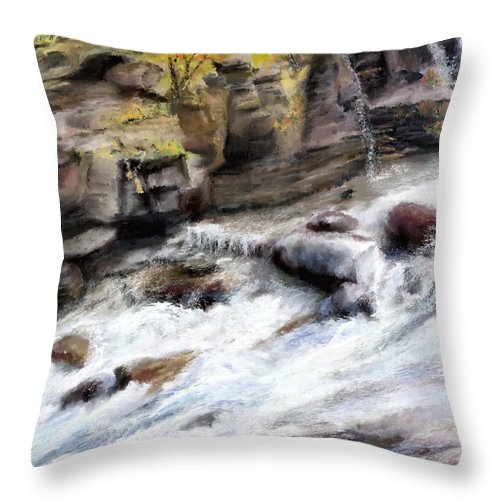 River Throw Pillow featuring the painting Raging River by Susan Kinney