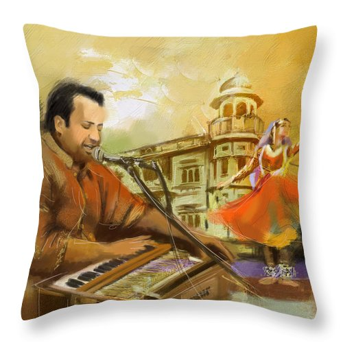 Zakir Throw Pillow featuring the painting Rahat Fateh Ali Khan by Catf