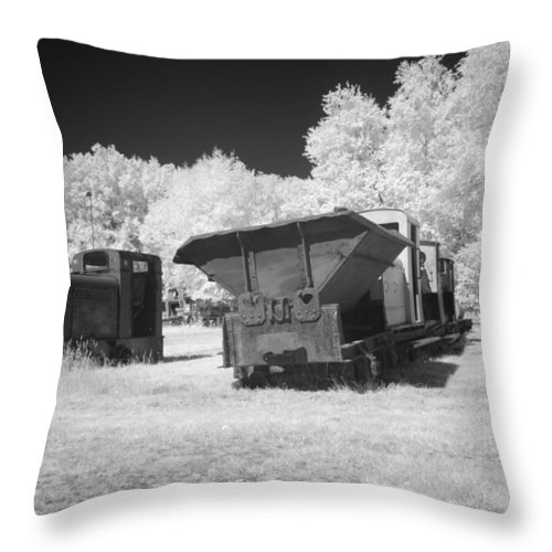 Bomen Throw Pillow featuring the photograph railcars in infrared light in the forest in Netherlands by Ronald Jansen