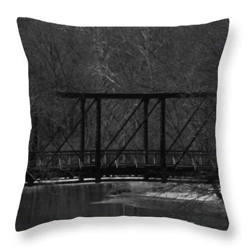 Railroad Bridge Throw Pillow featuring the photograph Railroad Bridge Over The Sangamon River by Eric Noa