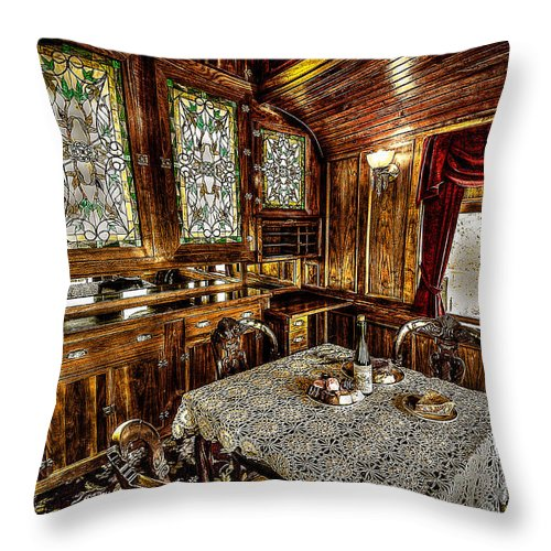 Railroad Throw Pillow featuring the photograph Railroad Dinnertable by David Morefield