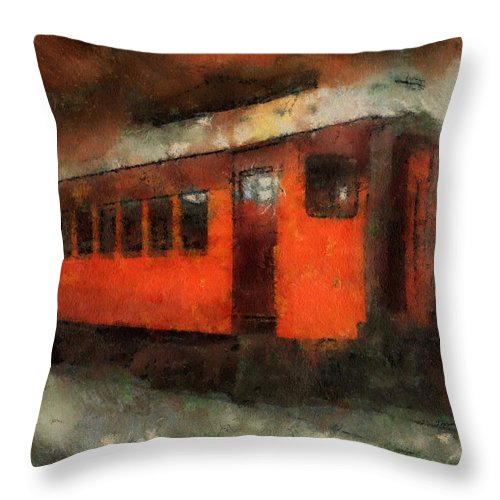 Transportation Throw Pillow featuring the photograph Railroad Gary Flyer Photo Art 03 by Thomas Woolworth