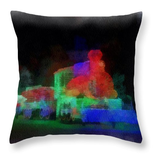 Locomotive Throw Pillow featuring the photograph Railroad Led Train Photo Art 01 by Thomas Woolworth