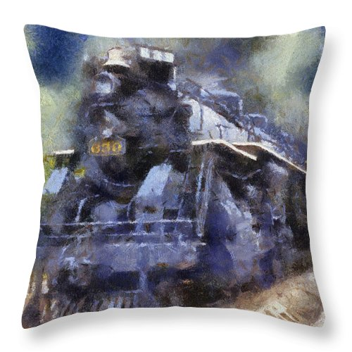 Railroad Throw Pillow featuring the photograph Railroad Locomotive 639 Type 2 8 2 Photo Art by Thomas Woolworth