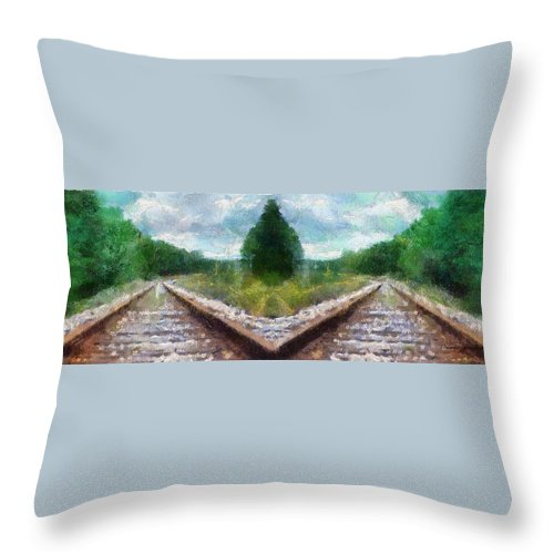 Transportation Throw Pillow featuring the photograph Railroad Tracks Photo Art by Thomas Woolworth