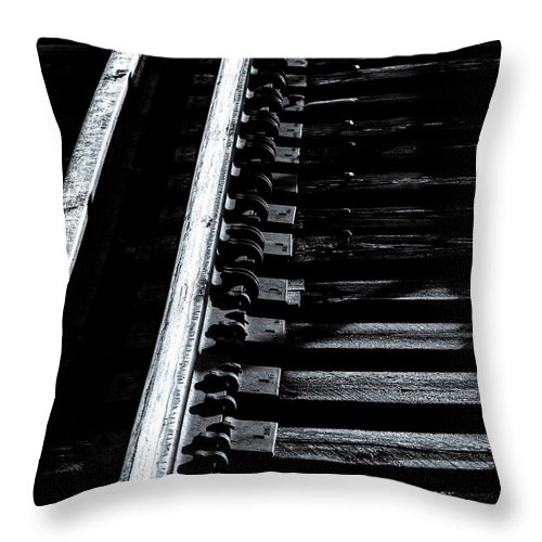 Train Tracks Throw Pillow featuring the photograph Rails And Ties by Bob Orsillo