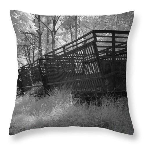 Bomen Throw Pillow featuring the photograph Rails And Trains Of A Locomotive In Infrared Light In Netherlands by Ronald Jansen