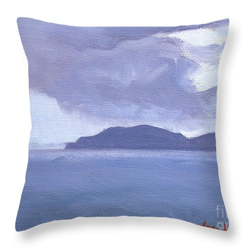 Honey Moon Beach Throw Pillow featuring the painting Rain Across The Channel by Candace Lovely