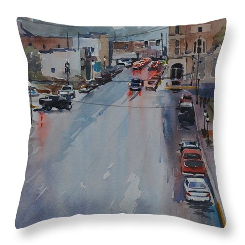 Rain Throw Pillow featuring the painting Rain At Rush Hour Fairfield Il by Spencer Meagher