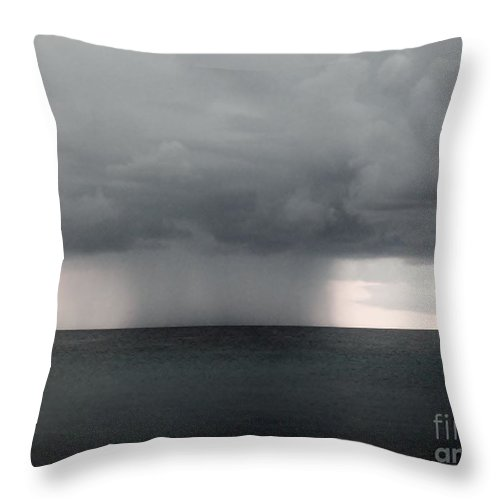 Color Throw Pillow featuring the photograph Rain At Sea by Amar Sheow