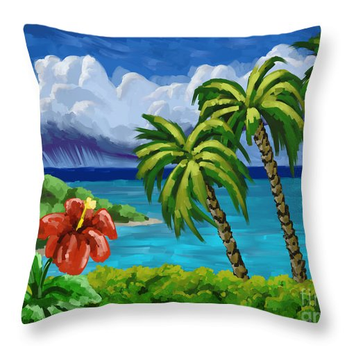 Rain Throw Pillow featuring the painting Rain In The Islands by Tim Gilliland