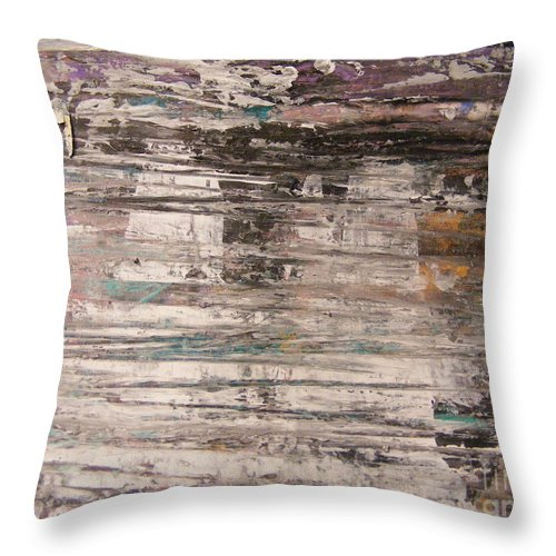Abstract Painting Throw Pillow featuring the painting Rain Puddle Ghosts by Nancy Kane Chapman