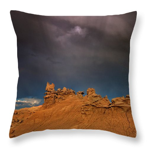 North America Throw Pillow featuring the photograph Rainbow And Sandstone Formations Fantasy Canyon Utah by Dave Welling