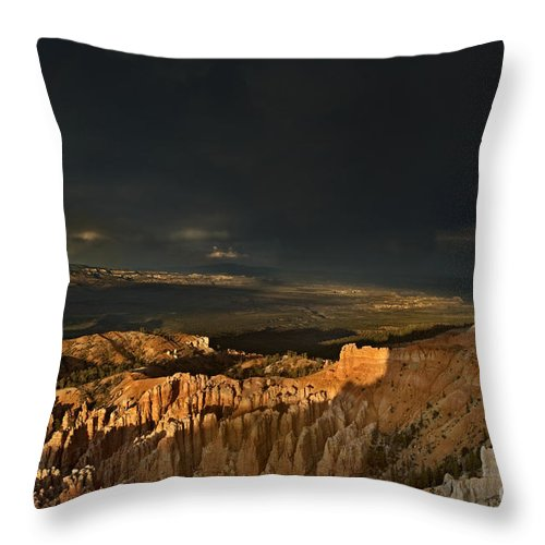 North America Throw Pillow featuring the photograph Rainbow And Thunderstorm Bryce Canyon National Park Ut by Dave Welling