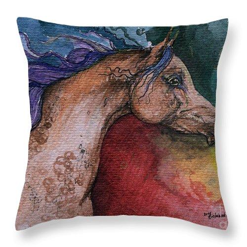 Fairytale Throw Pillow featuring the painting Rainbow Arabian by Angel Ciesniarska