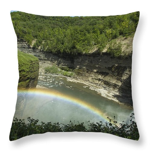 Rainbow Throw Pillow featuring the photograph Middle Falls With Rainbow by Lou Cardinale